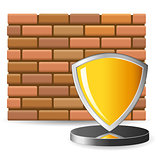 brick wall and security shield