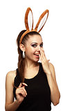 Attractive woman with bunny ears