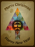 Vector Hipster Christmas  Greeting Card