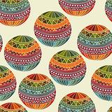 Vector seamless winter  Christams pattern with Fir Tree balls