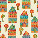 Vector Seamless Pattern with Houses and Trees