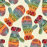 Vector seamless winter  Christams pattern with Mittens