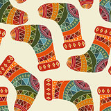 Vector seamless winter  Christams pattern with socks
