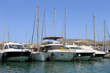 Boats moored in Alcudia harbor