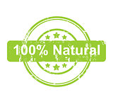 Green 100 percent natural stamp with stars