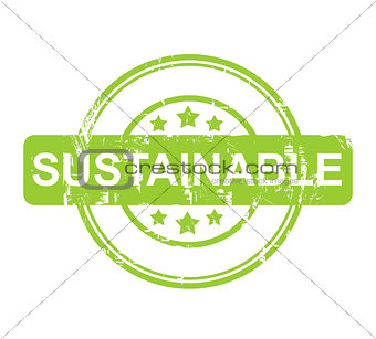 Green sustainable stamp with stars