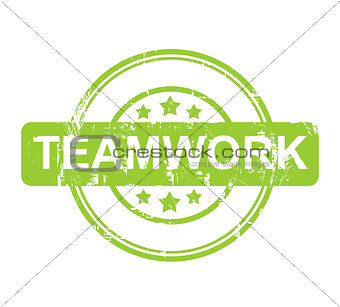 Green teamwork stamp with stars