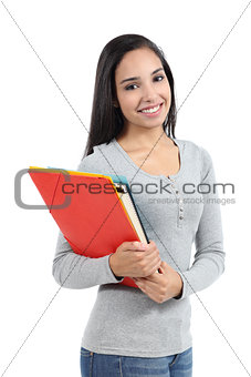 Arab student teenager girl posing with folders