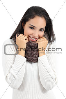 Beautiful arab woman warmly clothed grabbing a scarf