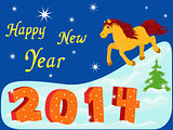 New Year 2014 with symbol of year a Horse