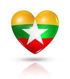 Love Burma Myanmar, heart flag icon