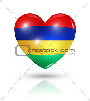 Love Mauritius, heart flag icon