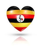 Love Uganda, heart flag icon