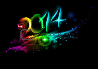 2014 in colorful light.
