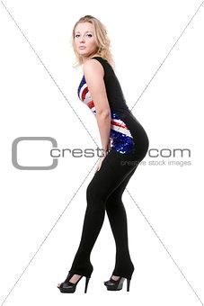 blonde posing in union-flag shirt
