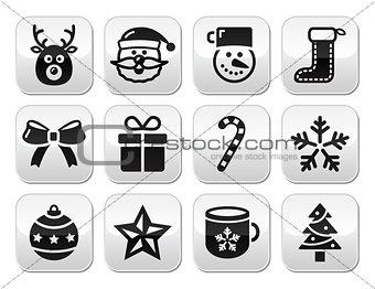 Christmas buttons set - santa, present, tree