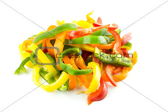 sliced of colorful sweet bell pepper