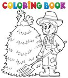 Coloring book farmer theme 1