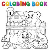 Coloring book pig theme 3