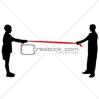 Black silhouettes of people pulling rope. Vector illustration.