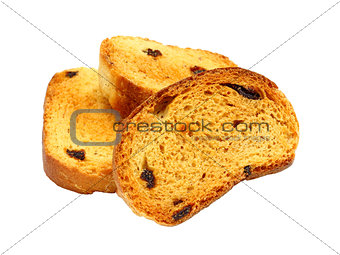 group of sweet tasty rusks with raisins isolated on white backgr