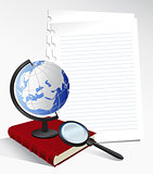 Paper Sheets and Globe