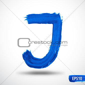 Alphabet Letter J. Watercolor Alphabet. Vector Background
