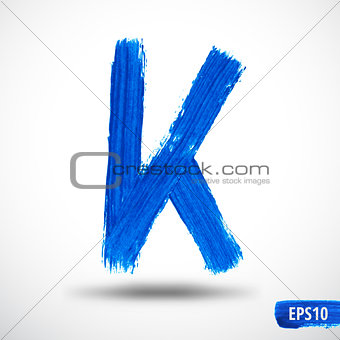 Alphabet Letter K. Watercolor Alphabet. Vector Background