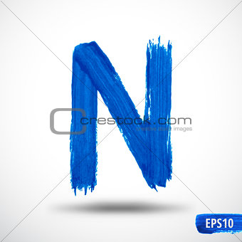 Alphabet Letter N. Watercolor Alphabet. Vector Background