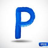 Alphabet Letter P. Watercolor Alphabet. Vector Background