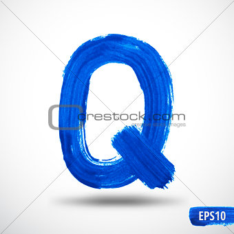 Alphabet Letter Q. Watercolor Alphabet. Vector Background