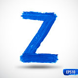 Alphabet Letter Z. Watercolor Alphabet. Vector Background