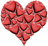 Red Wooden Heart with many Hearts