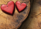 Red Wooden Hearts on Trunk Section