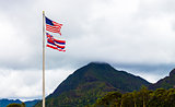 Hawaiian and American Flags