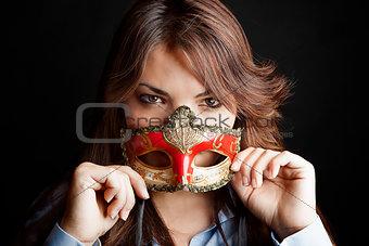 Beautiful woman semi masked