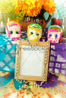Blank photo frame on a day of the dead altar (Dia de Muertos)