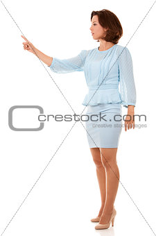 business woman pressing button