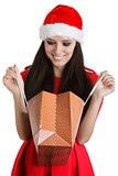 Christmas Girl Looking in Shopping Bag
