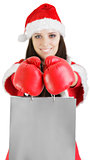 Christmas Girl with Boxing Gloves and Shopping Bags