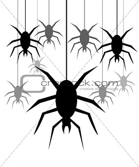 Background with spiders hanging on a web