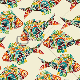 Vector seamless  pattern with bright  fishes