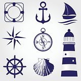 Set of marine symbols