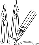 crayons cartoon illustration coloring page