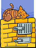 cat on stove cartoon illustration