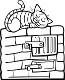 cat on stove cartoon coloring page