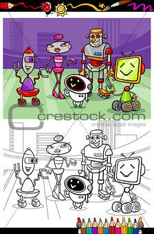 cartoon robots group coloring book