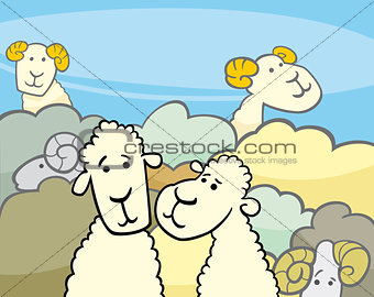 flock of sheep cartoon illustration
