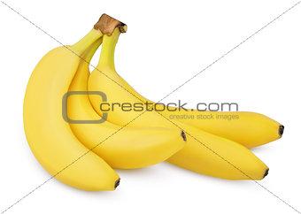Four bananas isolated on white