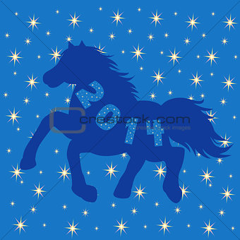 Blue Horse silhouette on stars background
